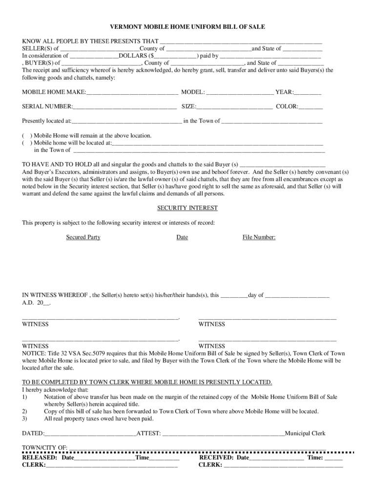 Manufactured Home Bill Of Sale Form - 4 Free Templates In Pdf, Word - Free Printable Bill Of Sale For Mobile Home