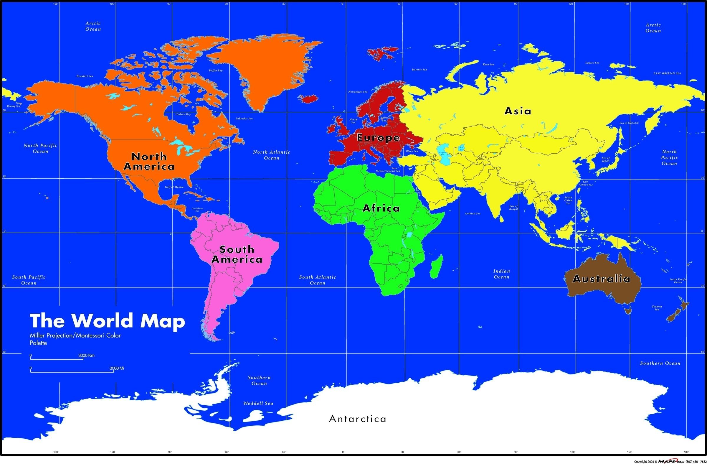 Maps Com Montessori World Wall Map Asia 1 - World Wide Maps - Montessori World Map Free Printable