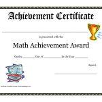 Math Achievement Award Printable Certificate Pdf | Math Activites   Free Printable Student Award Certificate Template