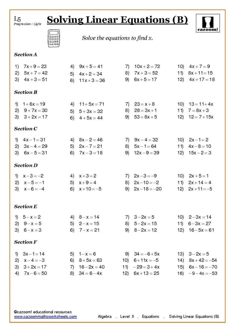 Math : Grade 8 Math Algebra Worksheets Beginner Division - Free Printable Algebra Worksheets Grade 6
