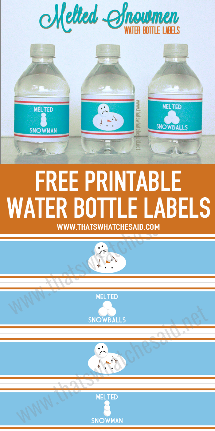 Melted Snowman Water Bottle Labels | Printables | Printable Water - Christmas Water Bottle Labels Free Printable