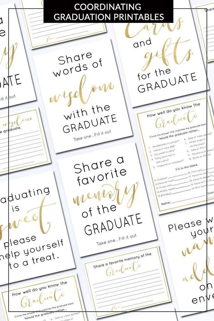Memory Of The Graduate Card Printable | 2019 Editable Graduation - Free Printable Graduation Advice Cards