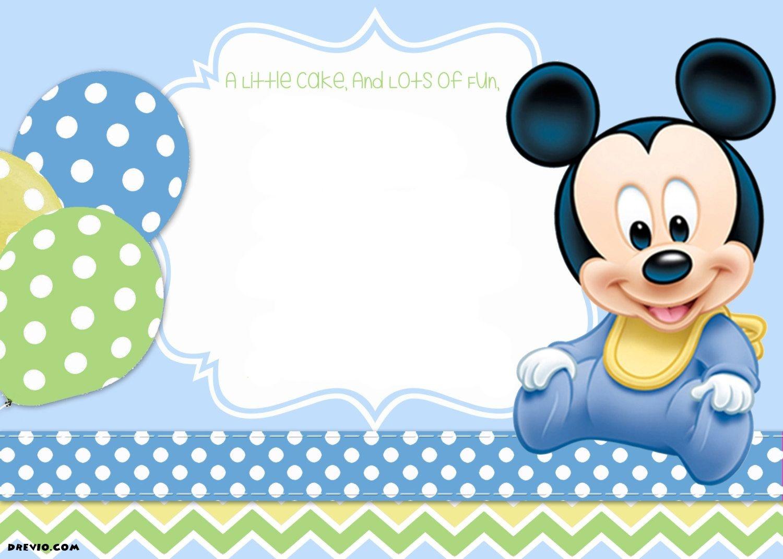 Mickey Mouse 1St Birthday | Tiago's Birthday | 1St Birthday - Free Printable Baby Mickey Mouse Birthday Invitations