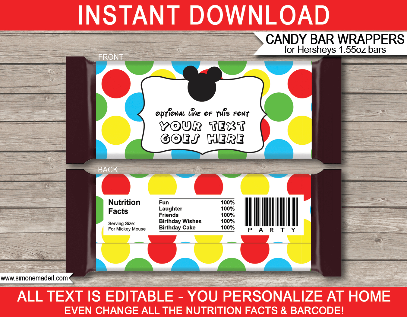 Mickey Mouse Hershey Candy Bar Wrappers | Personalized Candy Bars - Free Printable Chocolate Wrappers