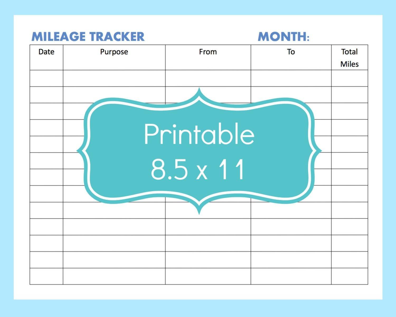 Mileage Tracker Form Printable, Printable Mileage Tracker, Mileage - Free Printable Mileage Log