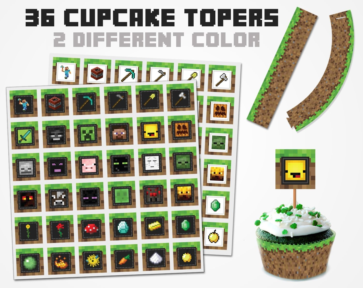 Minecraft Cupcake Topper 2 Color Variations, Minecraft Topper - Free Printable Minecraft Cupcake Toppers And Wrappers
