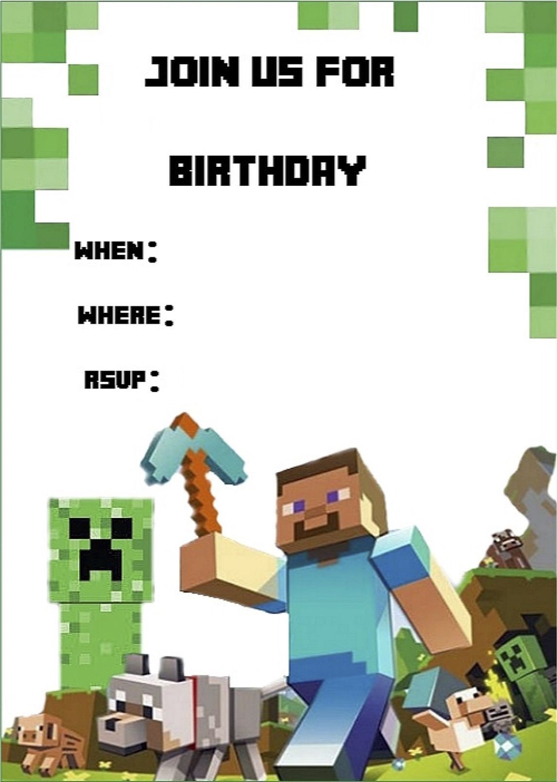 Minecraft Invite | Minecraft Party | Minecraft Invitations - Free Printable Minecraft Birthday Party Invitations Templates