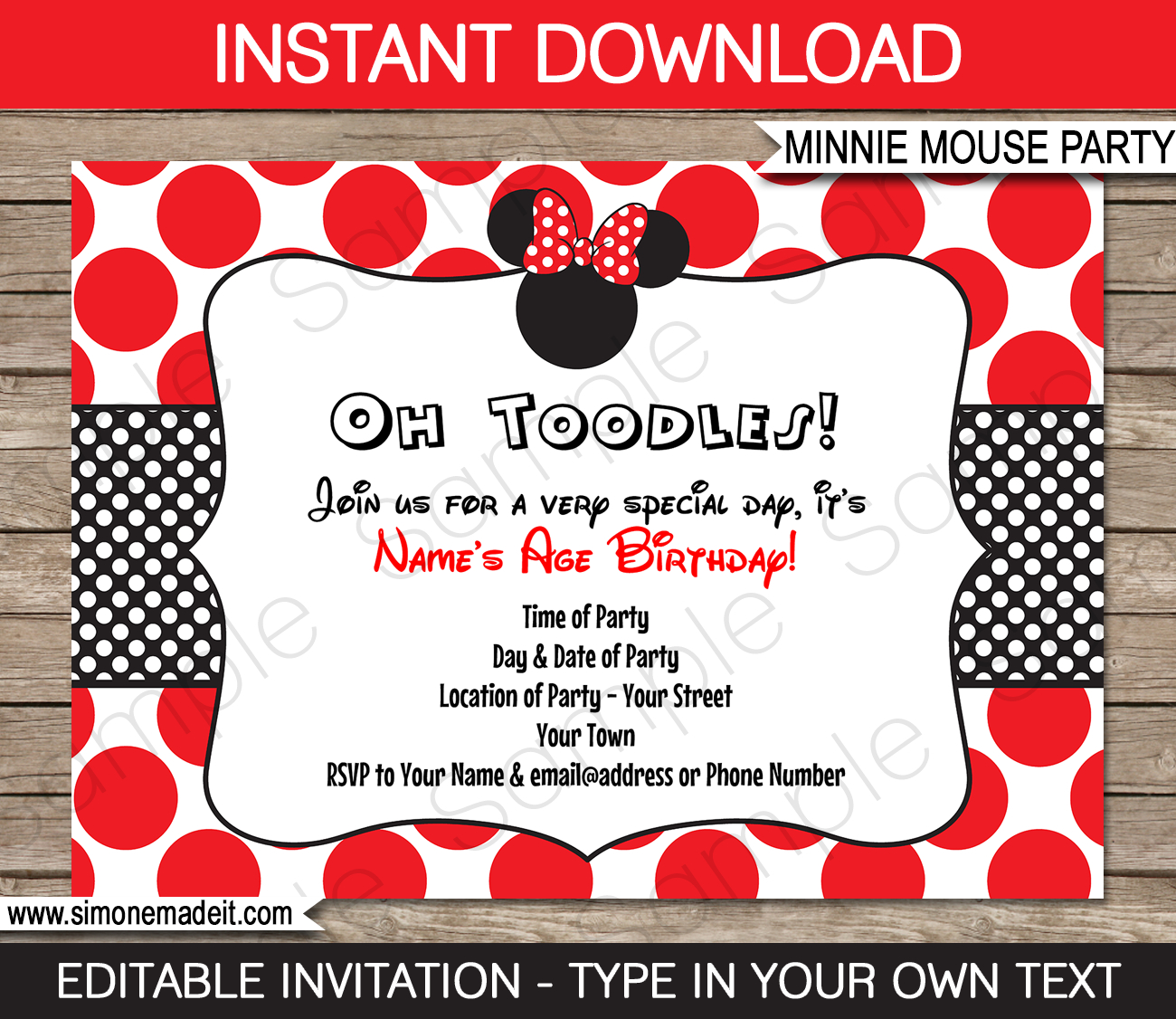 Minnie Mouse Birthday Party Invitations Template | Red - Free Printable Minnie Mouse Party Invitations