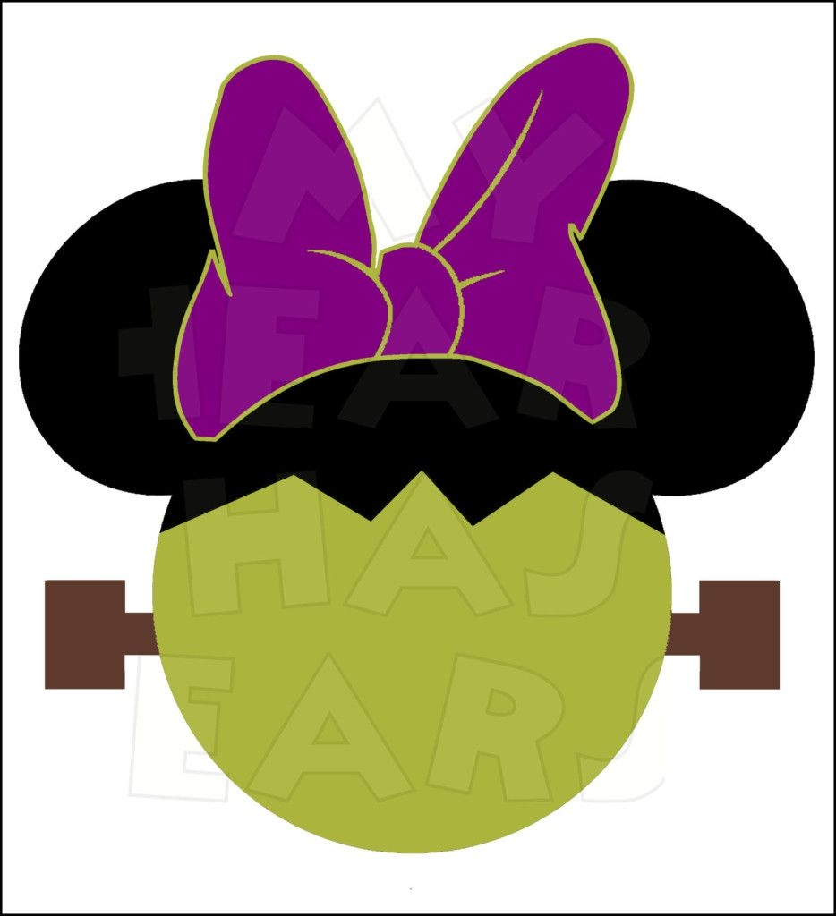 Minnie Mouse Frankenstein Instant Download Halloween Digital Clip - Free Printable Halloween Iron Ons