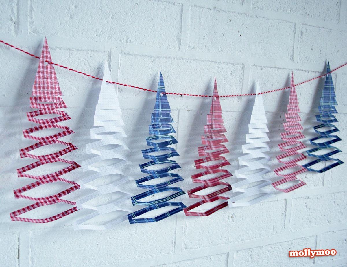 Mollymoocrafts Free Printables - Christmas Tree Garland - Free Printable Christmas Craft Templates
