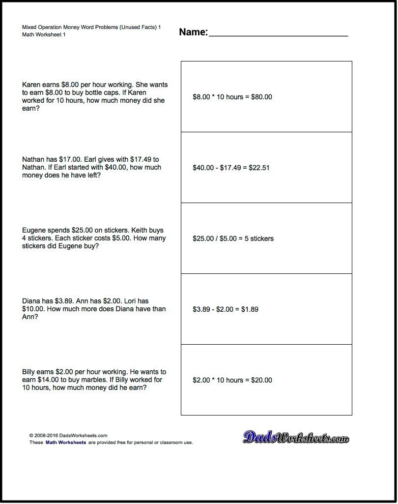 Money Word Problems! Mixed Operation Money Word Problems With Extra - Free Printable Money Word Problems Worksheets