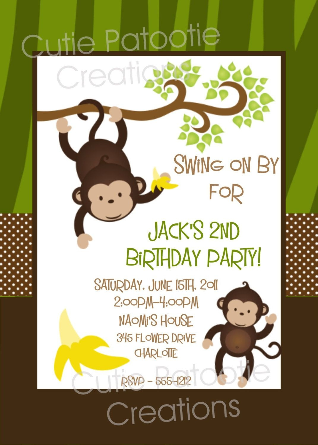 Monkey Birthday Invitation - Printable Or Printed Monkey 1St - Free Printable Monkey Birthday Party Invitations