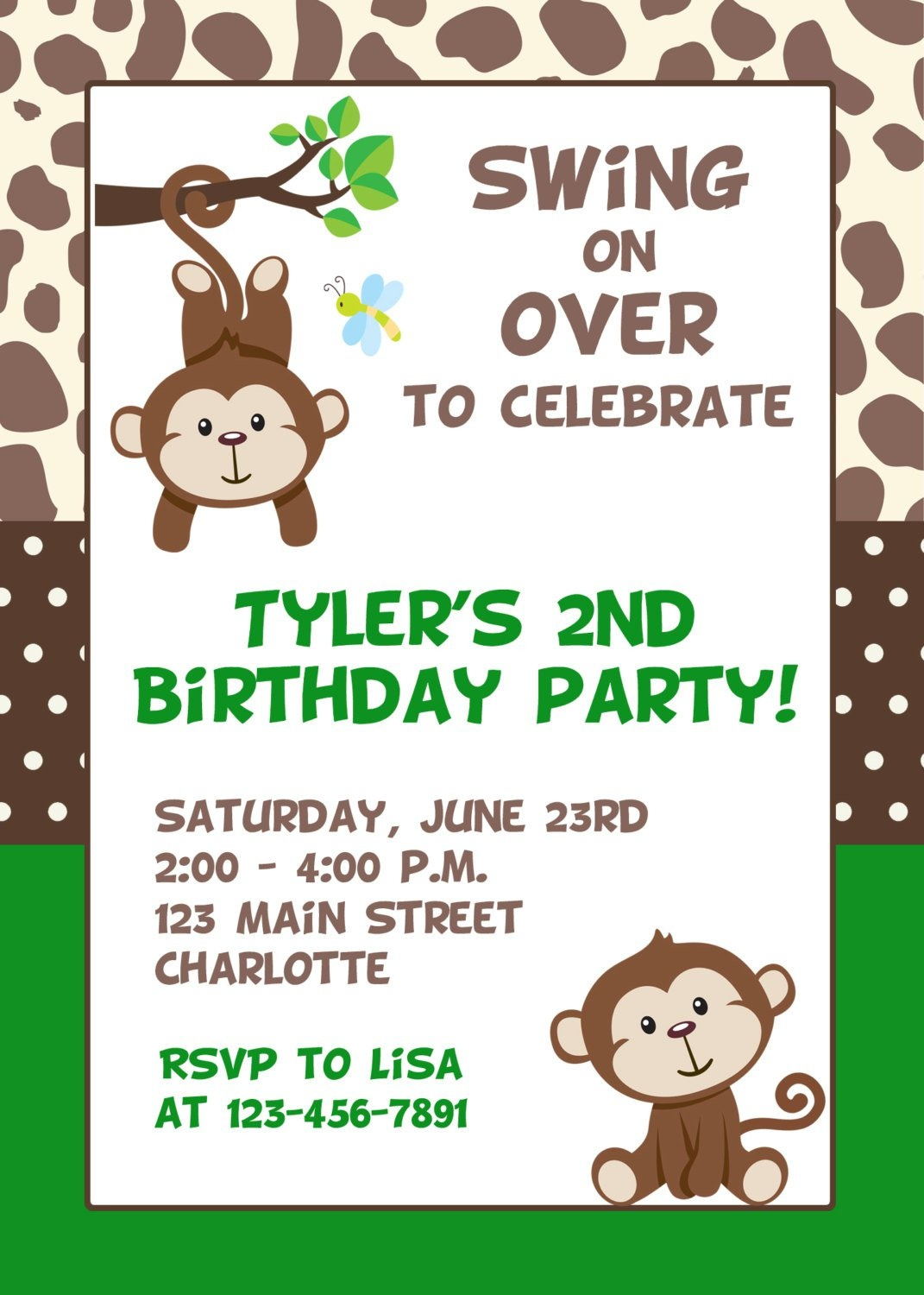 Monkey Birthday Invitations Free Printable - Free Printable Monkey Birthday Party Invitations