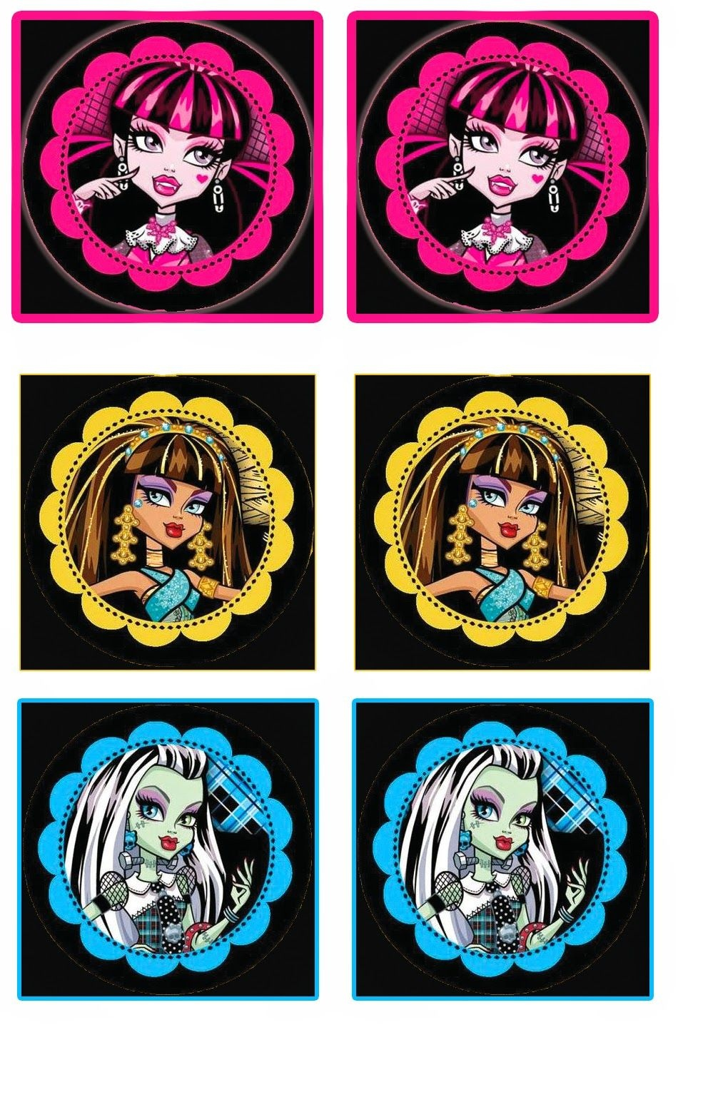 Monster High: Free Printable Wrappers Cupcake.   Party Ideas - Monster High Cupcake Toppers Printable Free