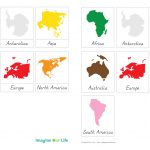 Montessori Continents Map & Quietbook With 3 Part Cards | Imagine   Montessori World Map Free Printable
