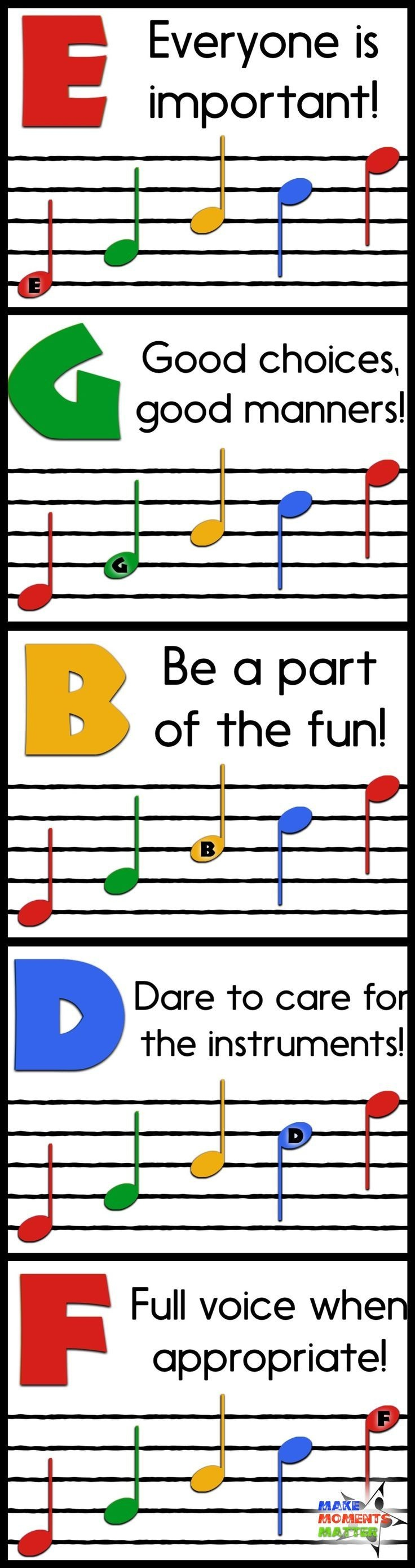 Music Classroom Rules Are As Easy As Egbdf! - Free Classroom Rules - Free Printable Music Posters