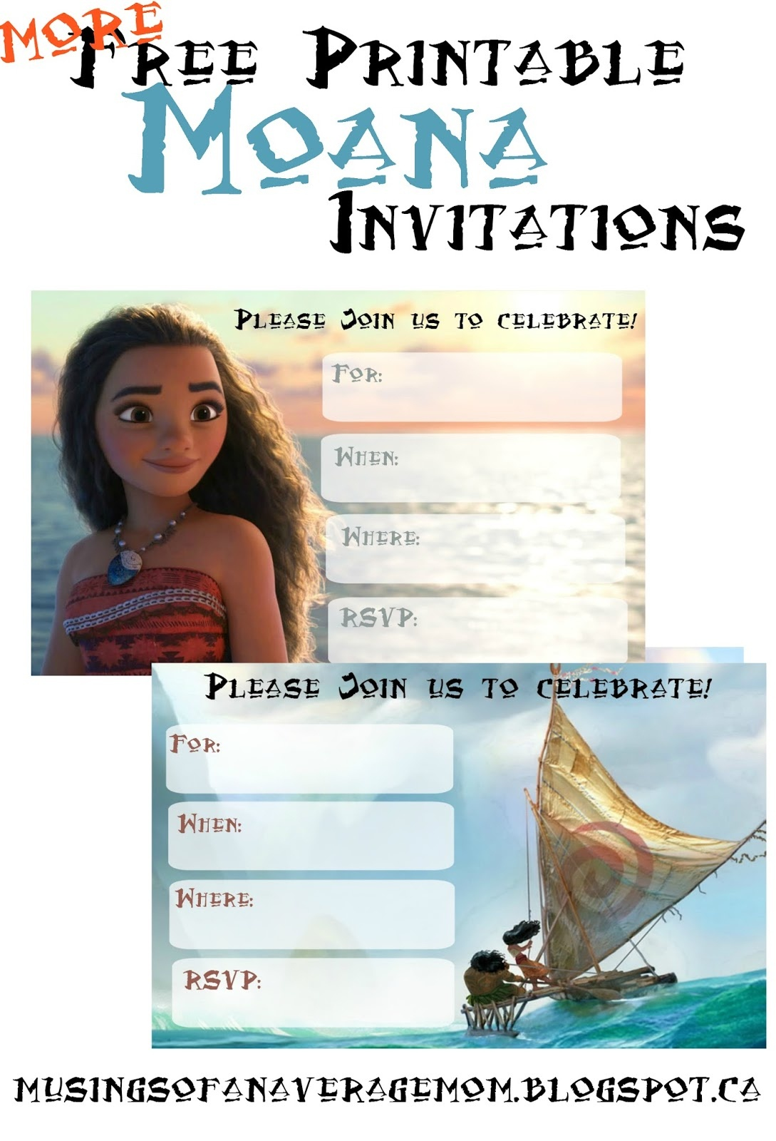 Musings Of An Average Mom: Free Printable Moana Invitations 2 - Free Printable Moana Invitations