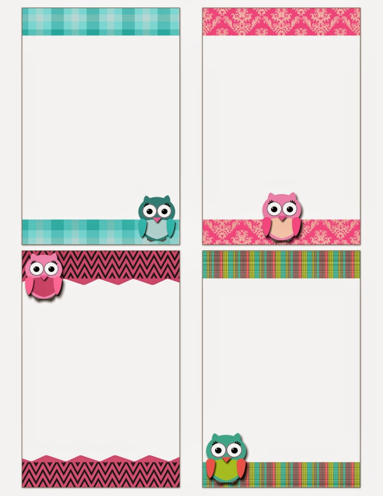My Fashionable Designs: Free Printable: Owl Notecards - Free Printable Note Cards