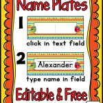 Name Plates (Editable) Freebie | Classroom Organization | Classroom   Free Printable Desk Name Plates For Students