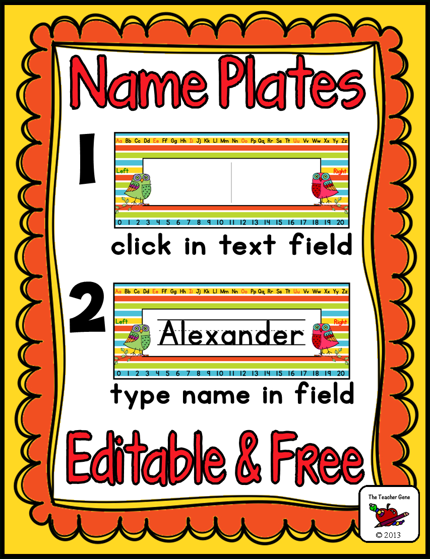 Name Plates (Editable) Freebie | Classroom Organization | Classroom - Free Printable Desk Name Plates For Students