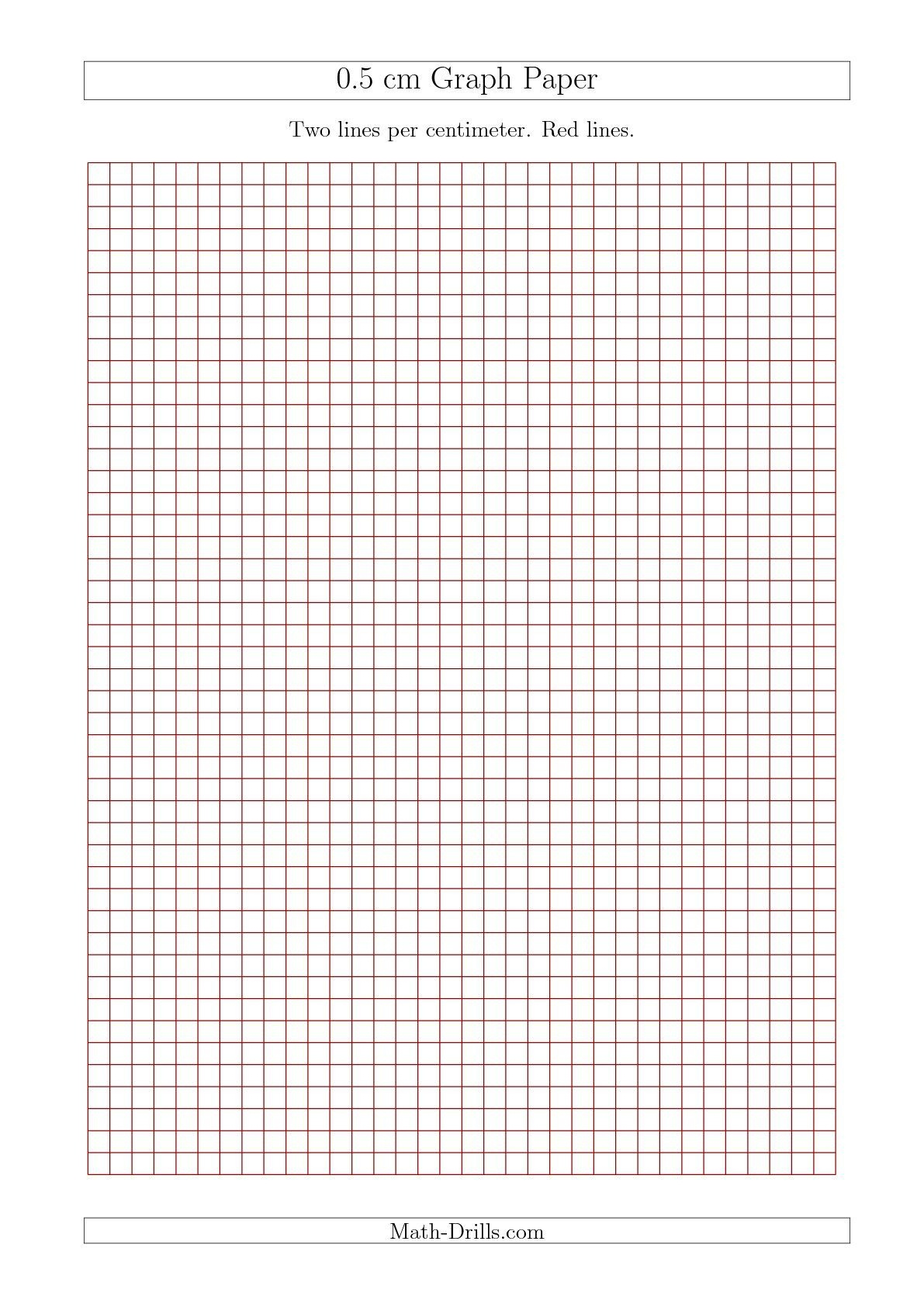 New 2015-09-17! 0.5 Cm Graph Paper With Red Lines (A4 Size) Math - Free Printable Graph Paper 1 4 Inch