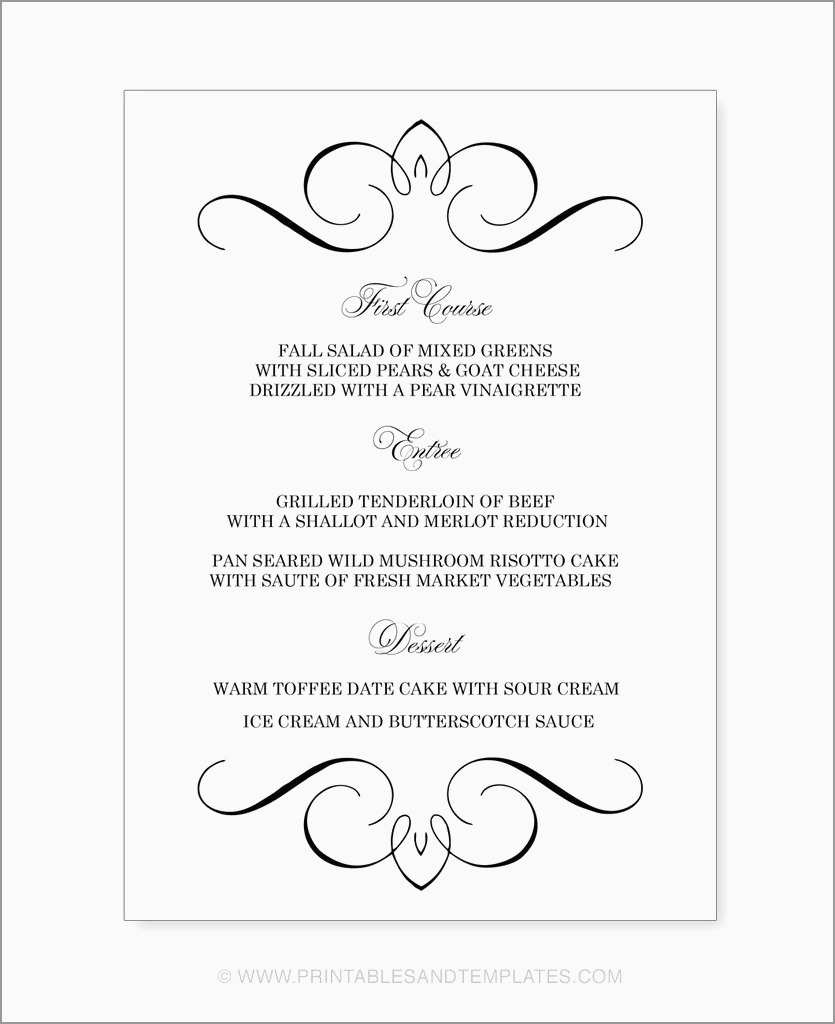 New Fancy Menu Template Free | Best Of Template - Free Printable Menu Templates