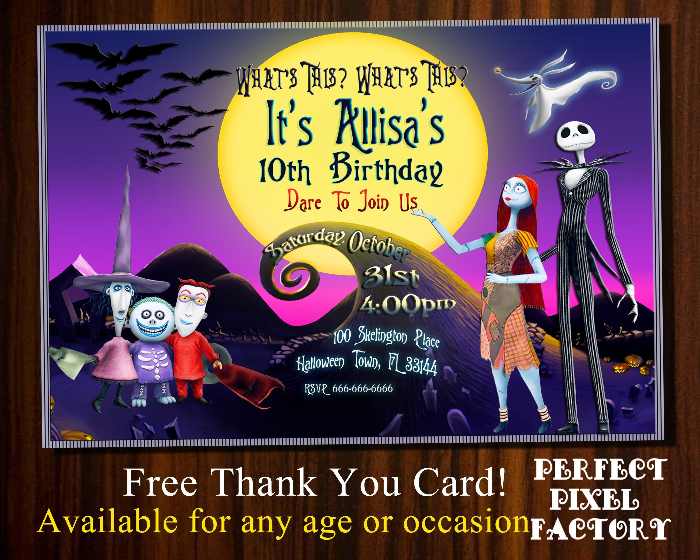 Nightmare Before Christmashalloween Invitationjack | Etsy - Free Printable Nightmare Before Christmas Birthday Invitations