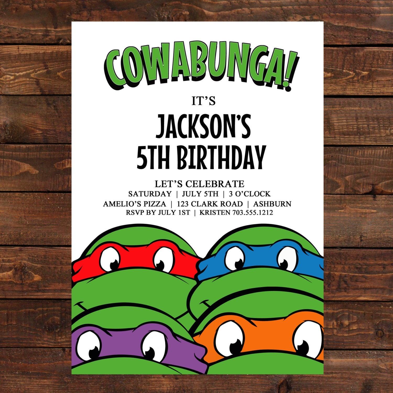 Ninja Turtle Birthday Invitation - Free Printable Ninja Turtle Birthday Banner