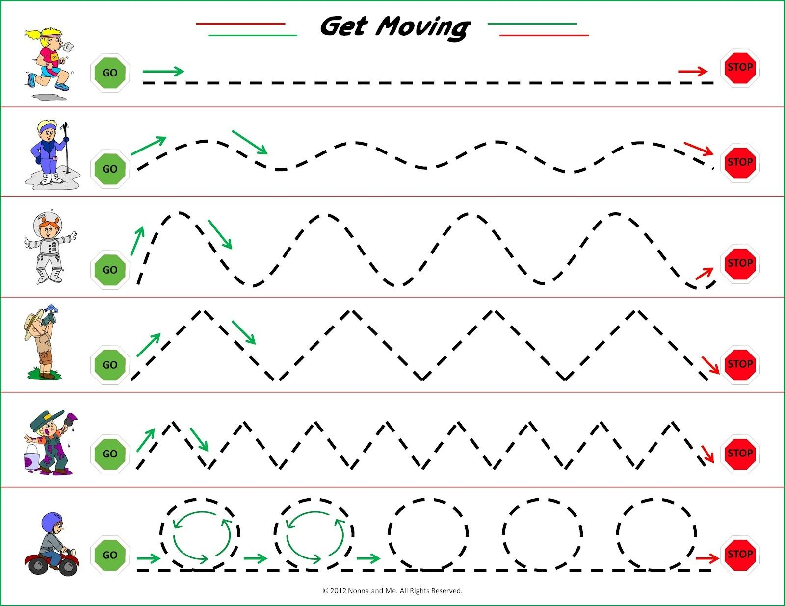 Nonna And Me: Get Moving | Ot/ Home Activities/ For Class | Tracing - Free Printable Fine Motor Skills Worksheets