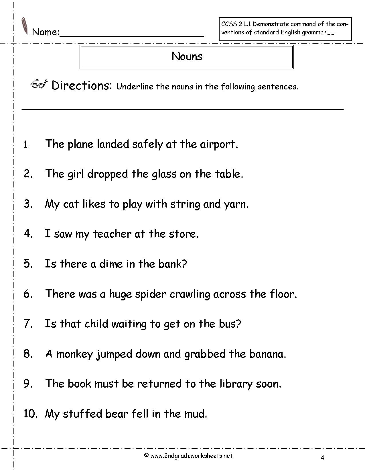 Nouns Worksheets And Printouts - Free Printable Pronoun Worksheets For 2Nd Grade