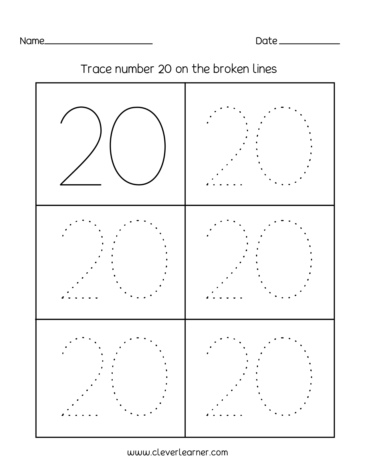 Number 20 Writing, Counting And Identification Printable Worksheets - Free Printable Tracing Numbers 1 20 Worksheets