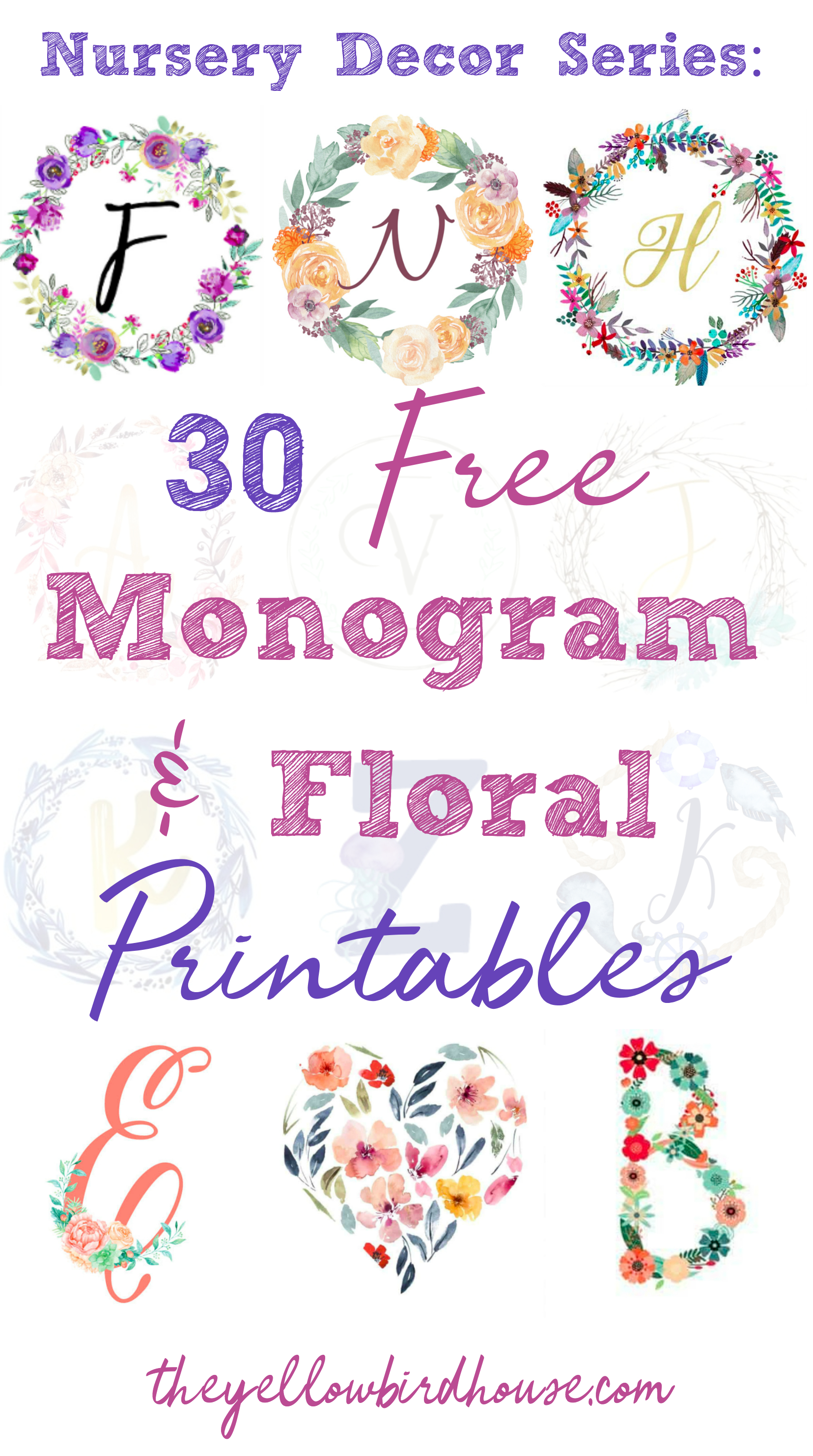 Nursery Decor Series: 30 Free Monogram Printables - Free Printable Monogram