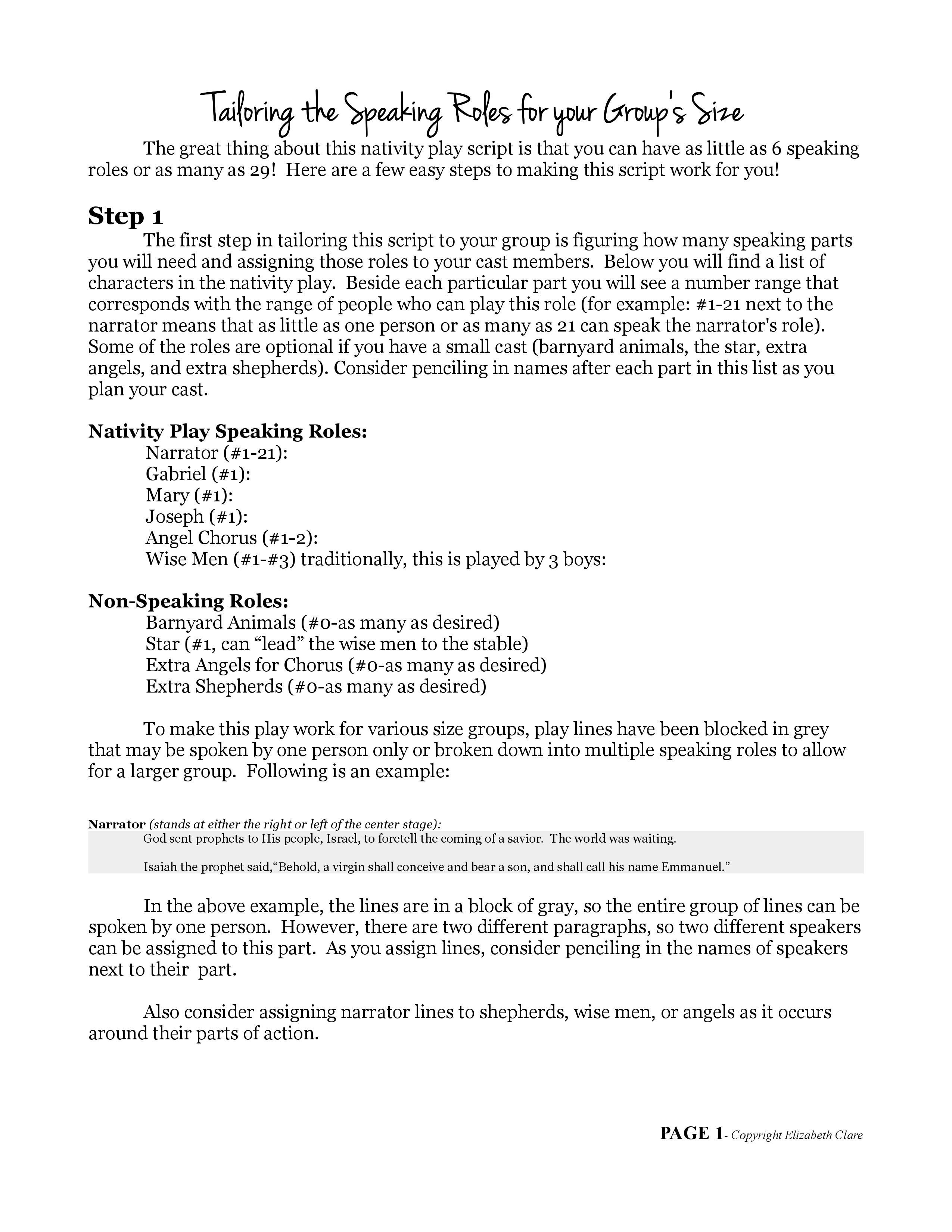 "O Come Emmanuel"": A Nativity Play Script 