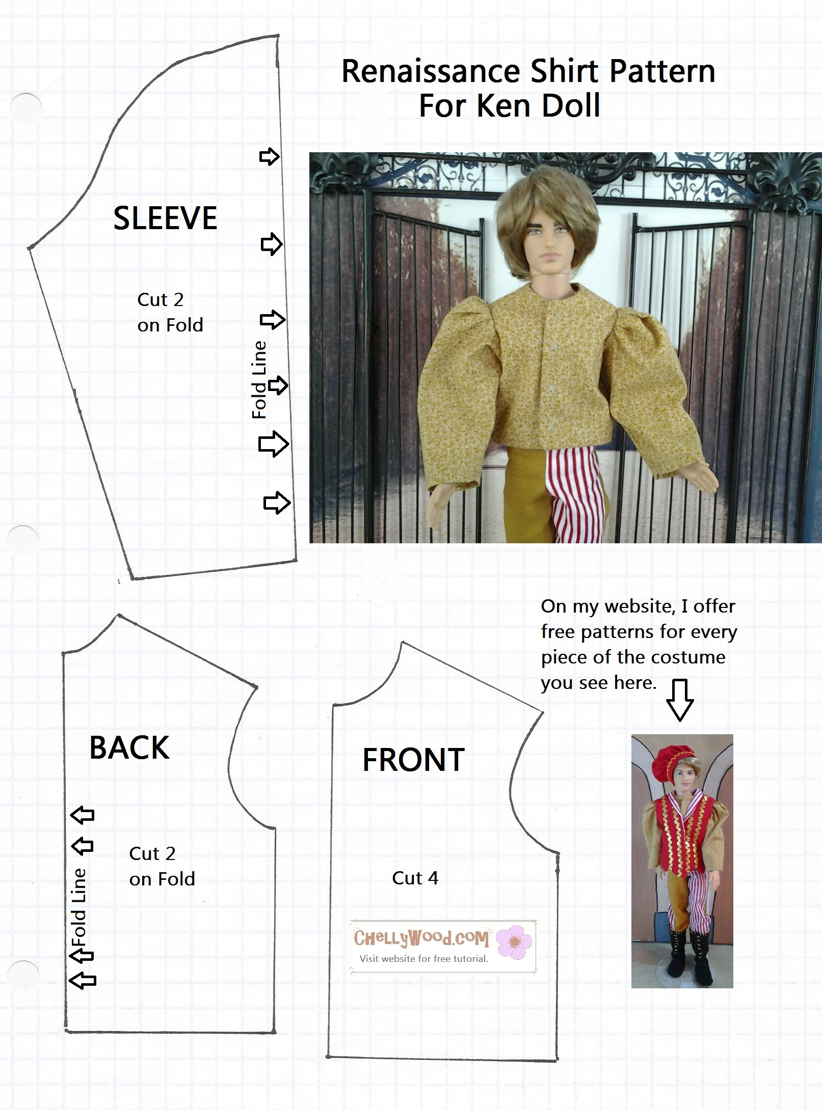 Old Pattern Page – Free, Printable Doll Clothes Sewing Patterns For - Free Printable Blouse Sewing Patterns