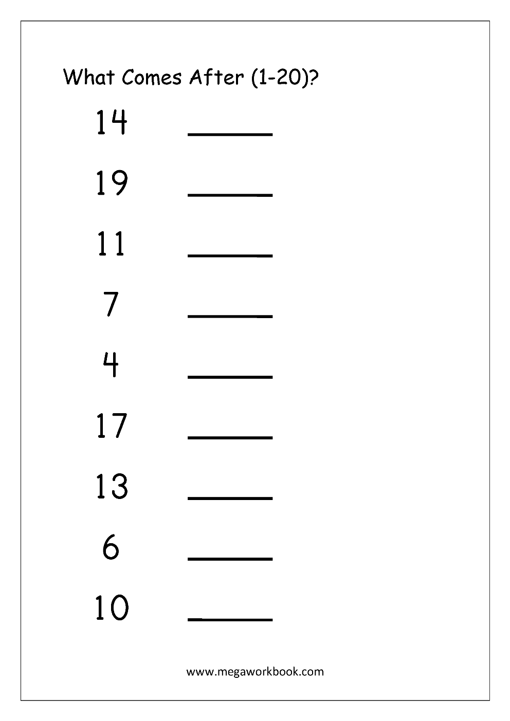 Ordering Numbers Worksheets, Missing Numbers, What Comes Before And - Free Printable Tracing Numbers 1 20 Worksheets