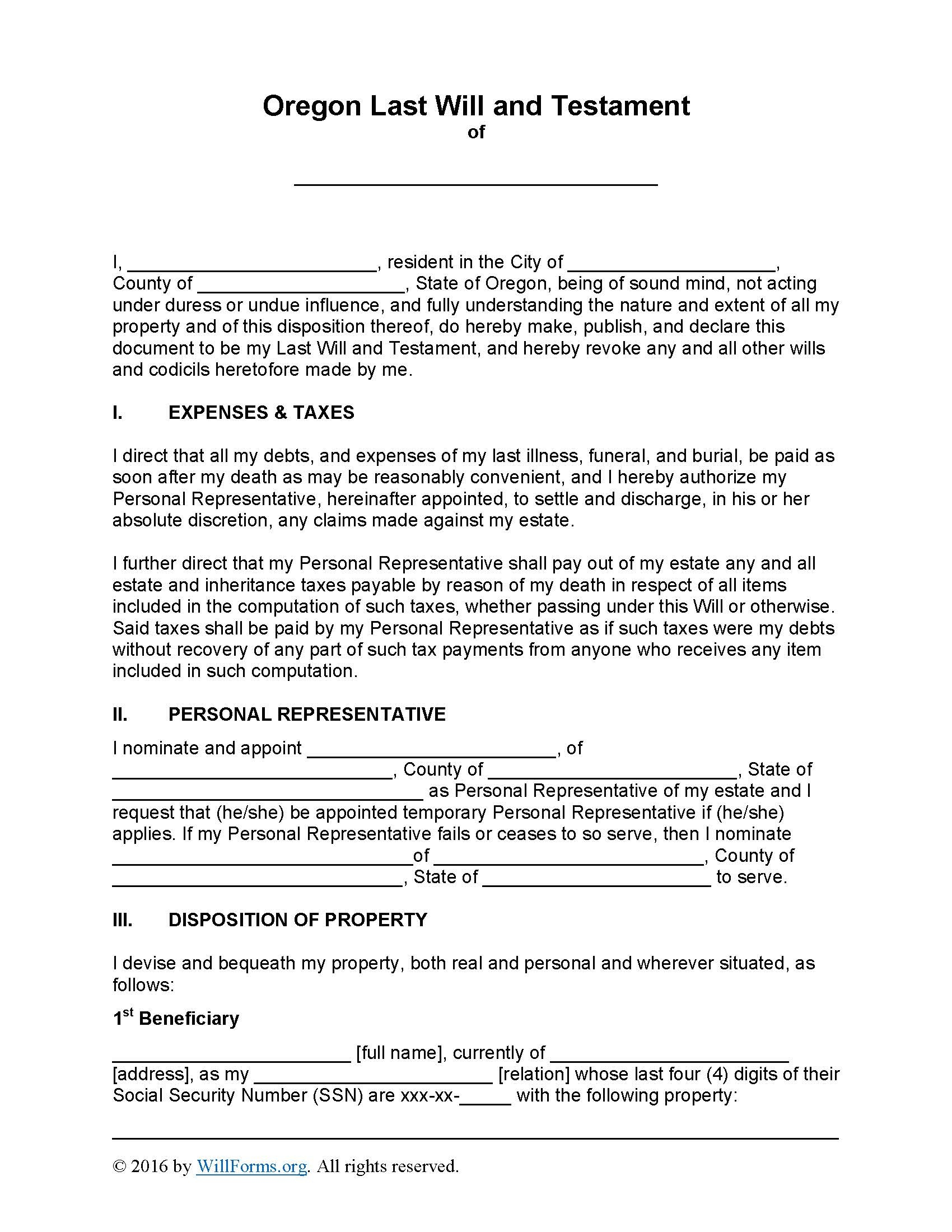 Oregon Last Will And Testament Form - Will Forms : Will Forms - Free Printable Florida Last Will And Testament Form