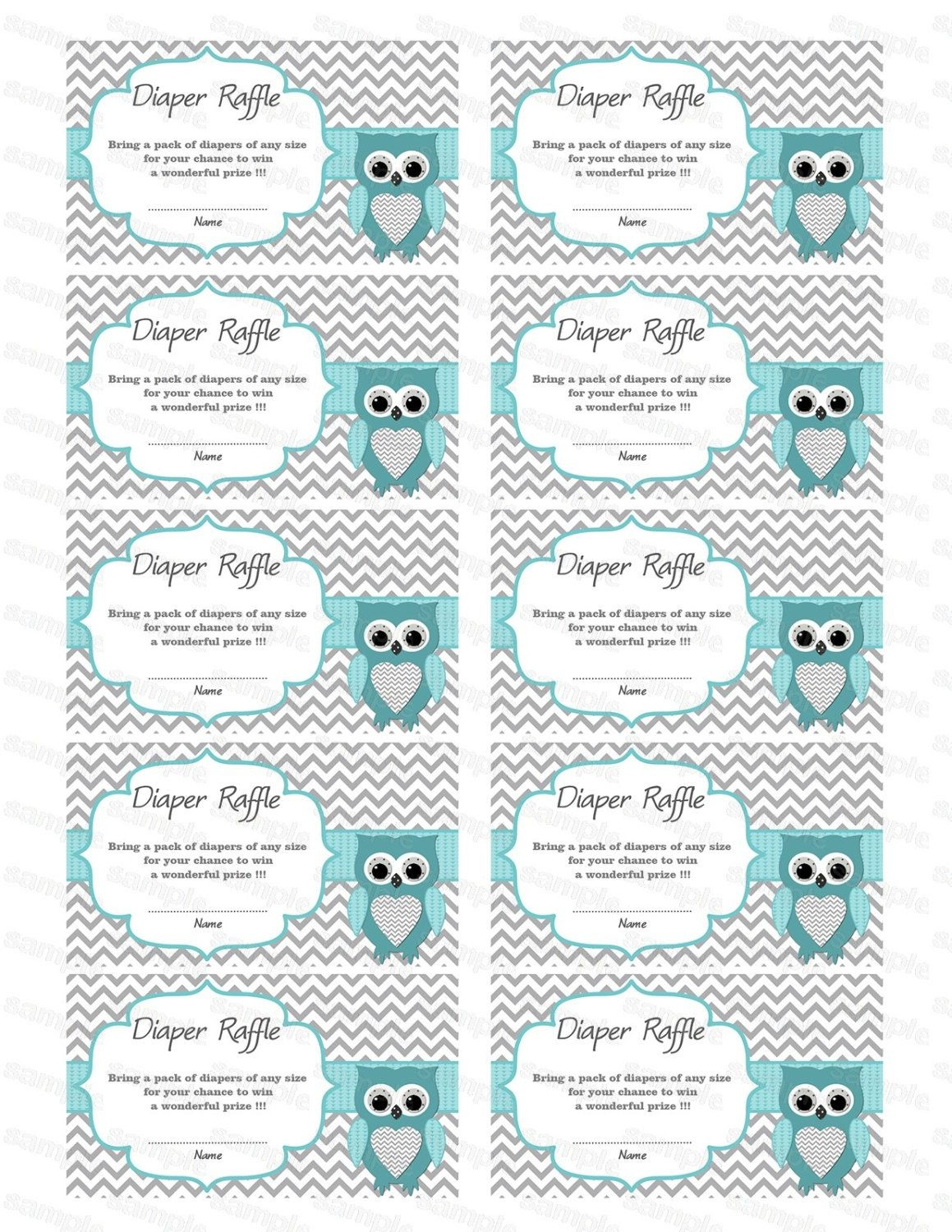 Owl Baby Shower Diaper Raffle Ticket Card Printable Tickets Free For - Free Printable Diaper Raffle Tickets For Boy Baby Shower