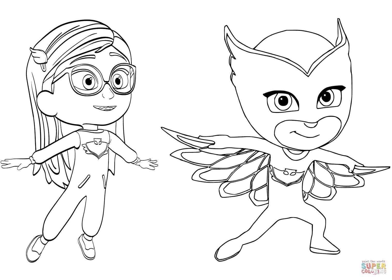 Pajama Hero Amaya Is Owlette From Pj Masks Coloring Page | Free - Free Printable Pajama Coloring Pages