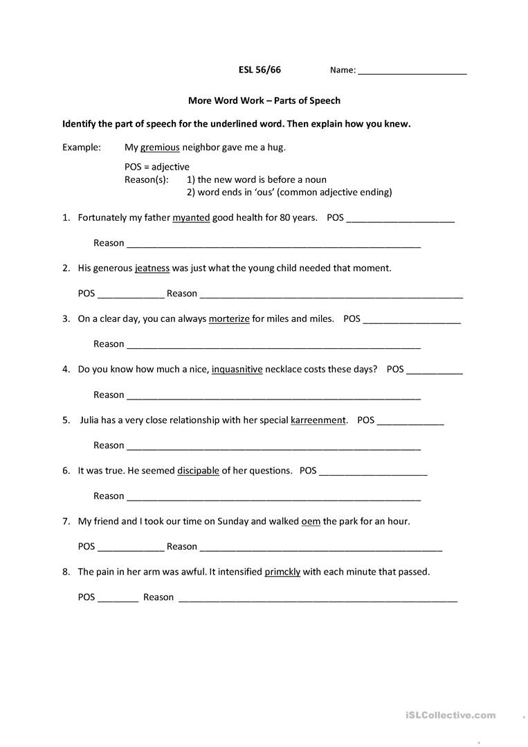 Parts Of Speech Worksheet - Free Esl Printable Worksheets Made - Free Printable Parts Of Speech Worksheets