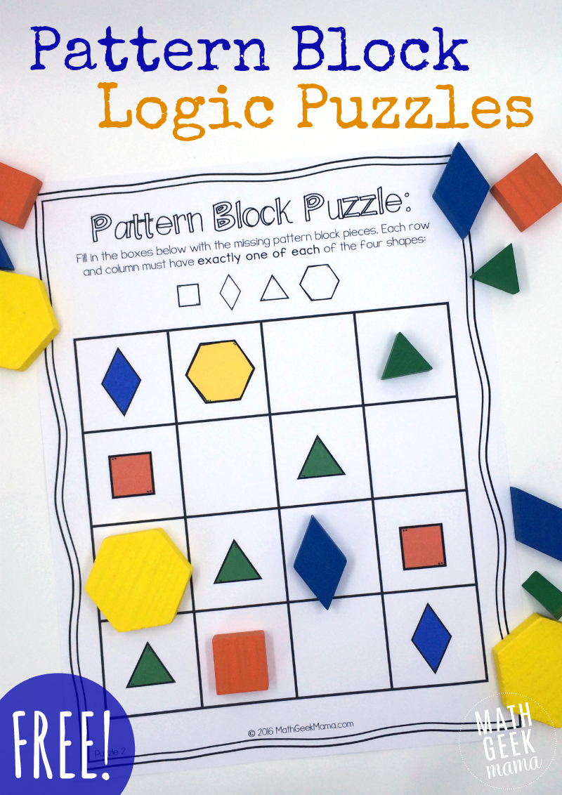 Pattern Block Puzzles {Free} - Free Printable Critical Thinking Puzzles