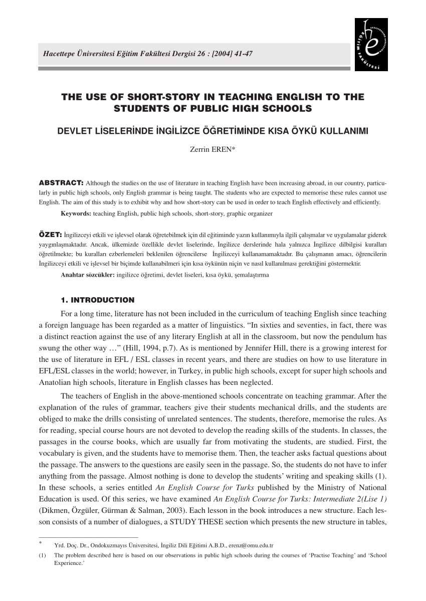 Pdf) The Use Of Short-Story In Teaching English To The Students Of - Free Printable Short Stories For High School Students