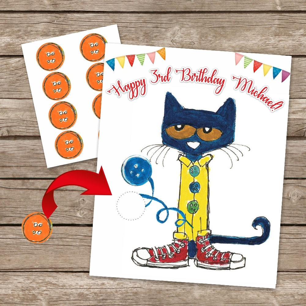 Pete The Cat Pin The Tail Game Pin The Button Printable Game | Etsy - Free Printable Pin The Tail On The Cat