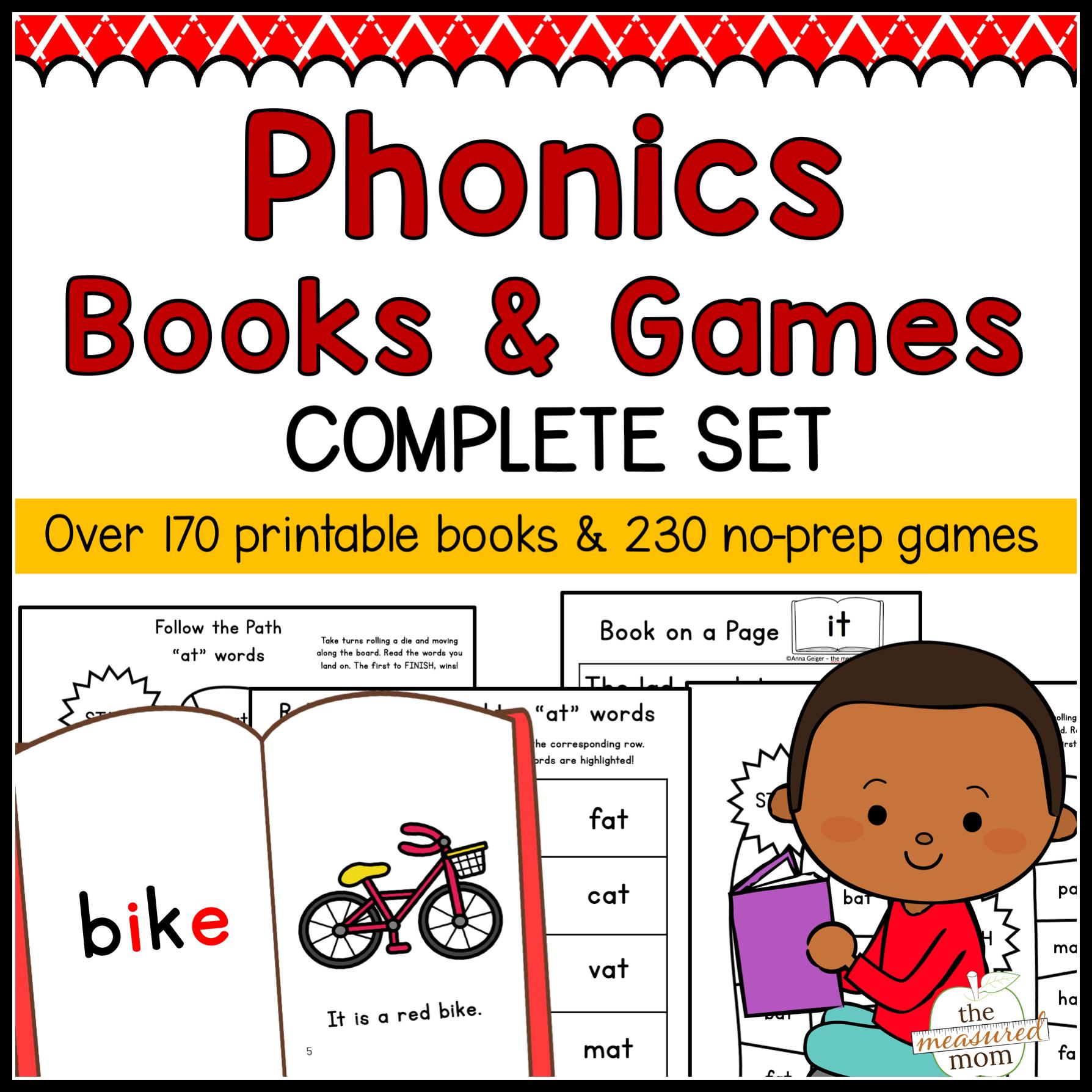 Phonics Books & Games - Complete Set - The Measured Mom - Free Printable Phonics Books
