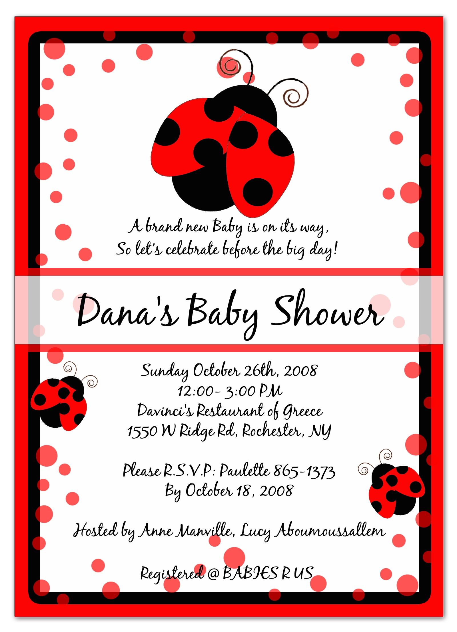 Photo : 12 Baby Shower Ladybug Image - Free Printable Ladybug Baby Shower Invitations Templates