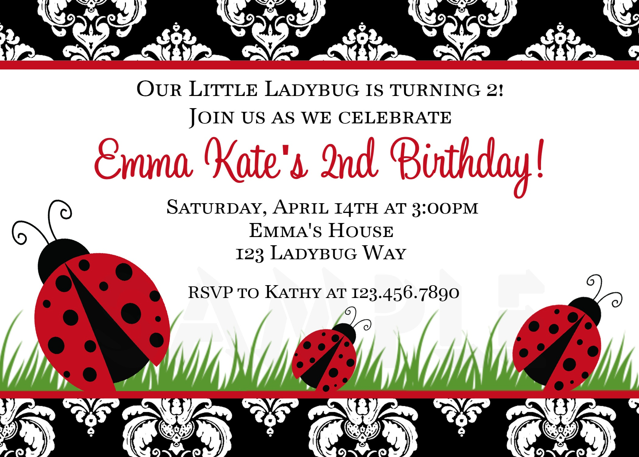 Photo : Printable Birthday Invitations Ladybug Image - Free Printable Ladybug Baby Shower Invitations Templates