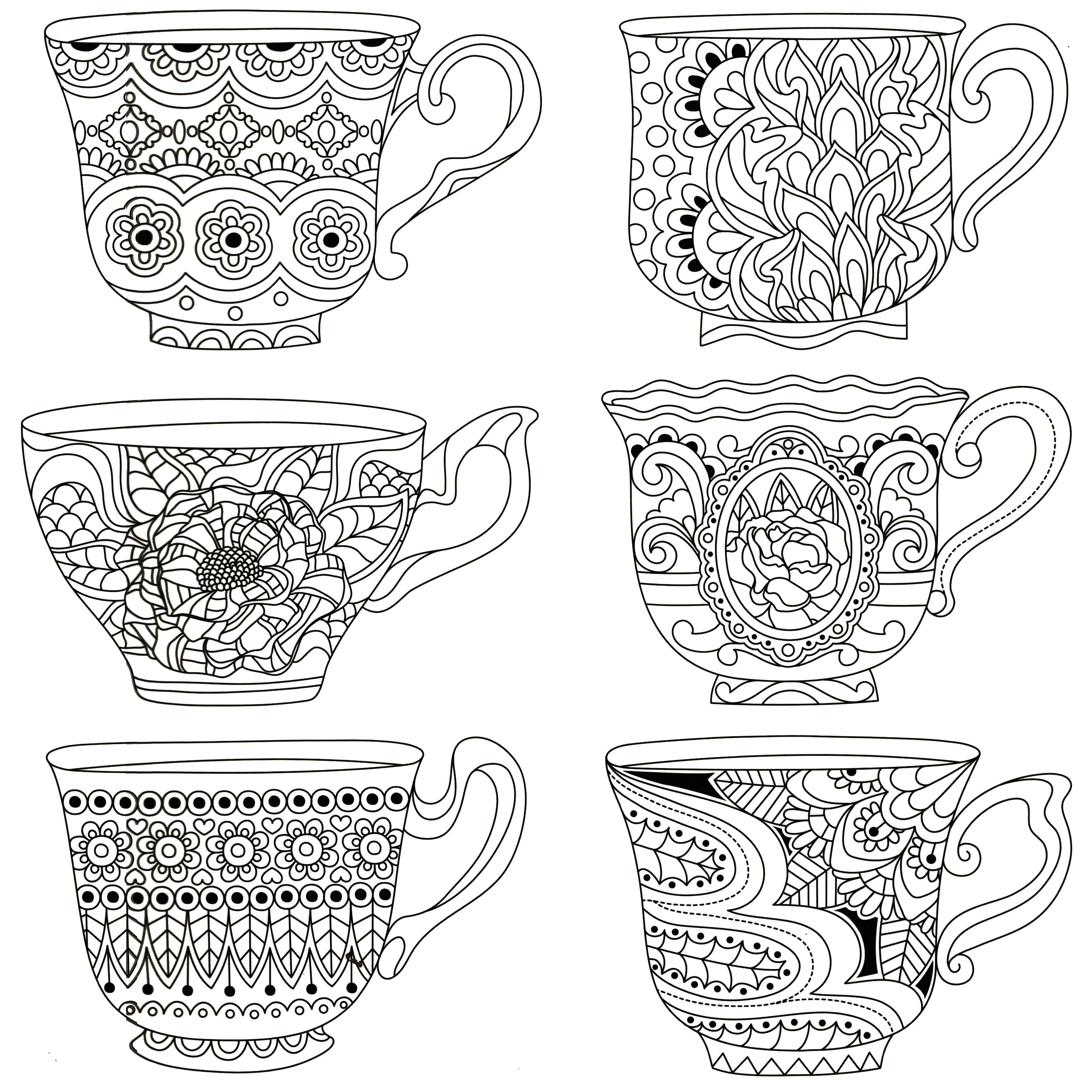 Pindeb Sherman On Coloring   Dover Coloring Pages, Free Adult - Free Printable Tea Cup Coloring Pages