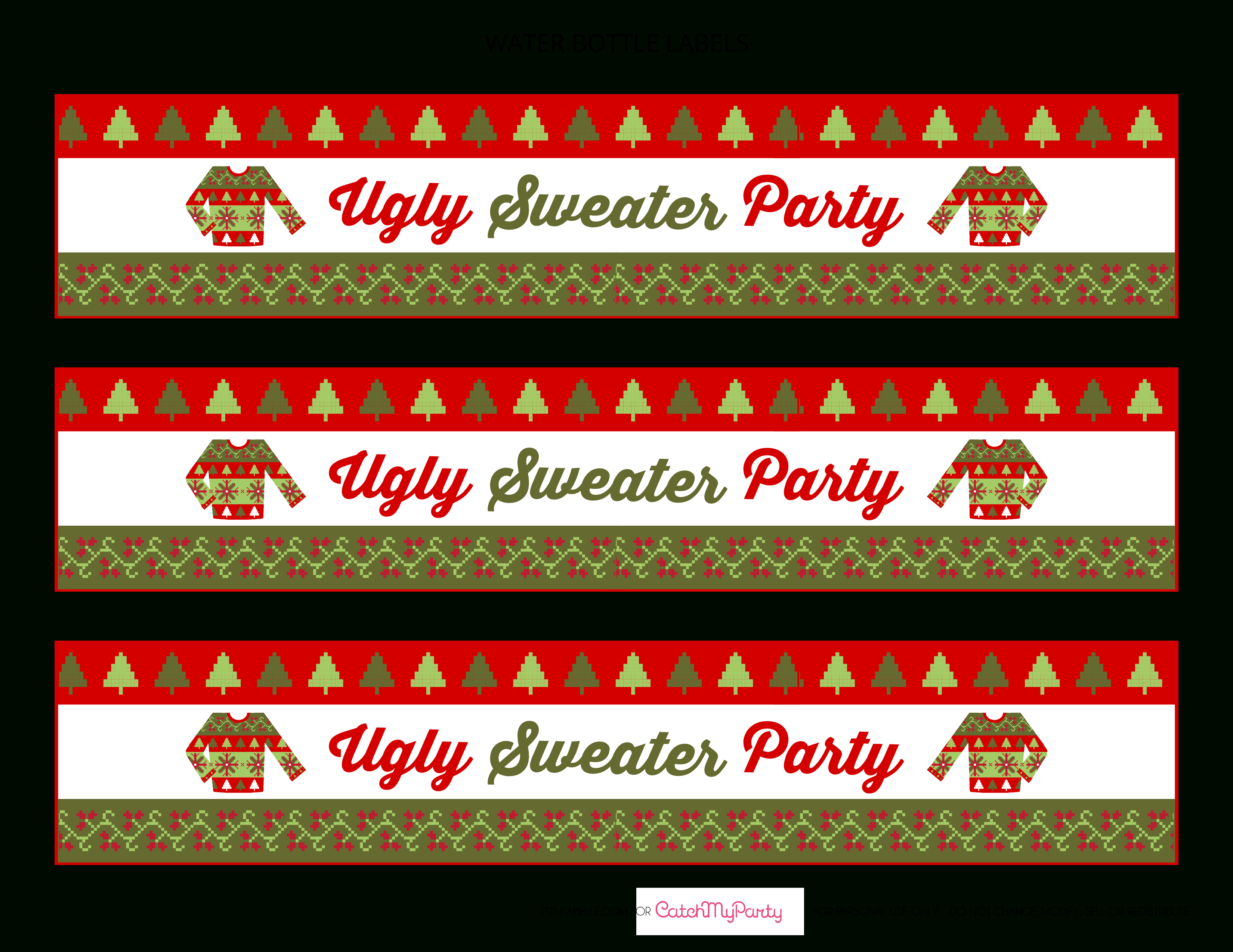 Pinjenni Caskey On Christmas | Diy Ugly Christmas Sweater, Igly - Christmas Water Bottle Labels Free Printable