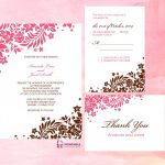 Pink And Brown Foliage Wedding Invitation | Free Printable Wedding   Free Printable Wedding Invitation Kits