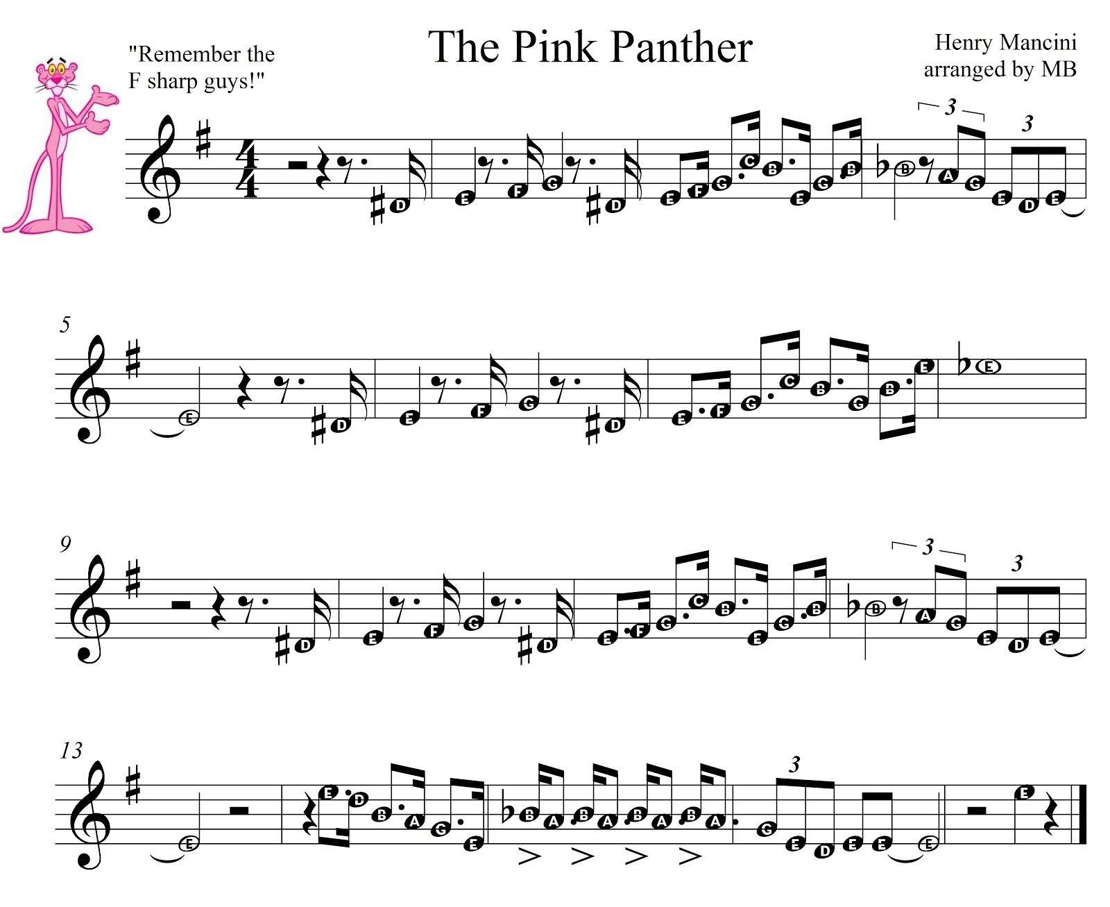 Pink Panther Sheet Music For Mobile The Pink Panther Theme1275 - Free Printable Trumpet Sheet Music Pink Panther