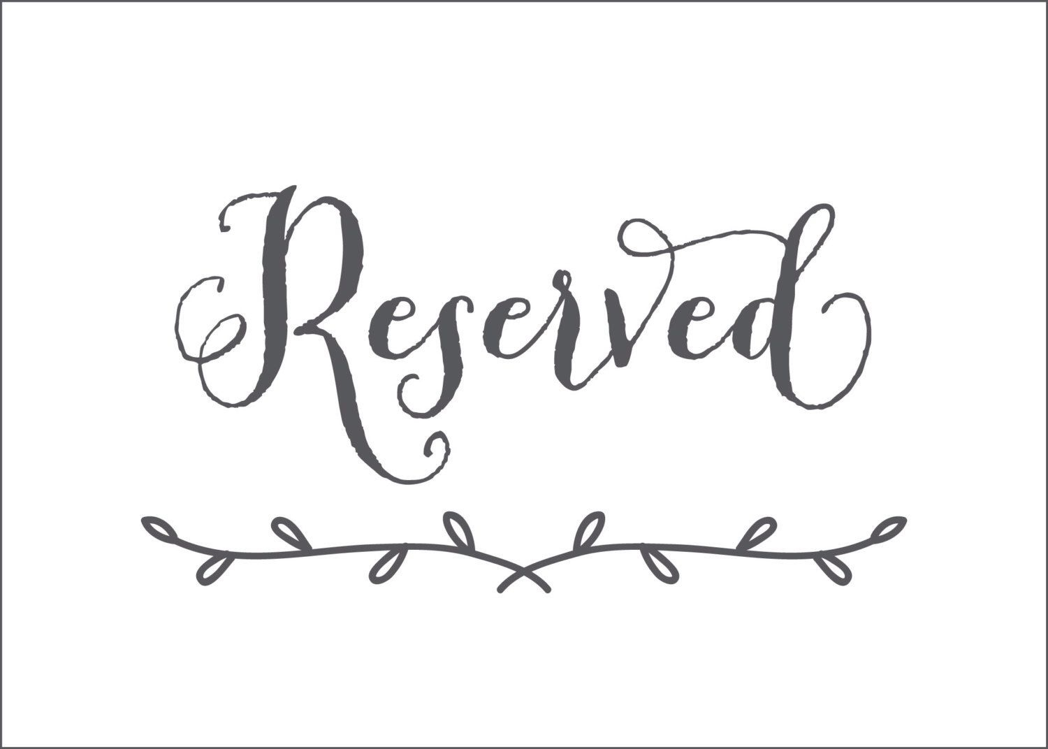 Printable Reserved Seating Signs For Wedding Ceremony